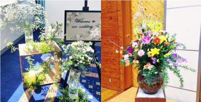 イベント用祝い花をフラワーデザイン